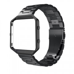 Simpeak Fitbit Blaze Band Frame, Replacement Stainless Steel Band with Metal Frame for Fit bit Blaze Smart Fitness Watch ( Match Link Removal Tool), Black