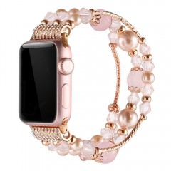 Simpeak Apple Watch Band, Replacement Fashionable Beaded Elastic Bracelet Band Strap for 38mm Apple Watch Series 3, Series 2, Series 1